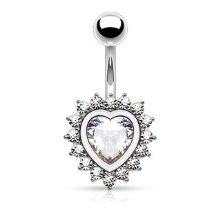Belly bar with crystalised heart and encasement