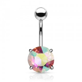 Aurora borealis effect prong set crystal belly bar