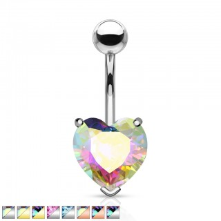 Aurora borealis effect heart gem belly bar