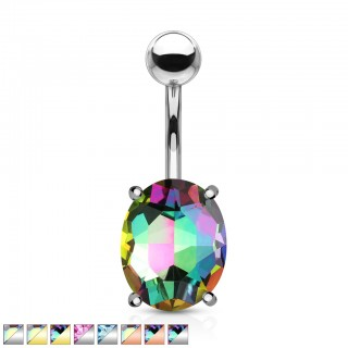 Aurora borealis effect oval gem belly bar
