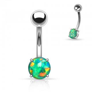 Belly button piercing with rounded opal stone