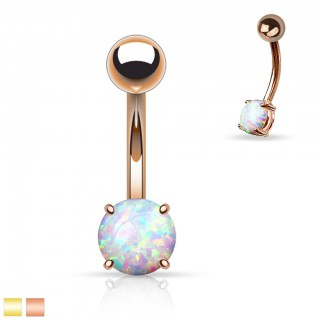 Gold belly bars with round opal stone