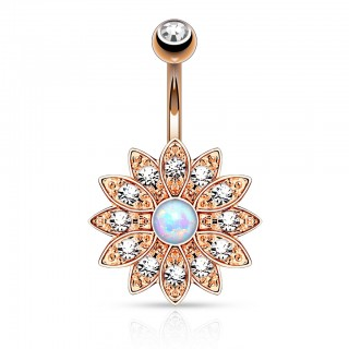Belly bar with large crystalised flower and opal
