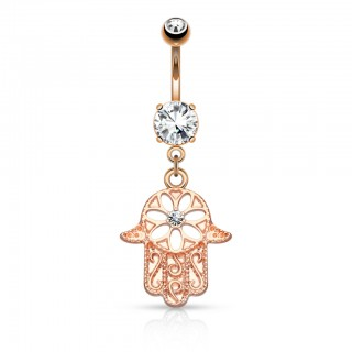 Hamsa belly bar with heart of crystal