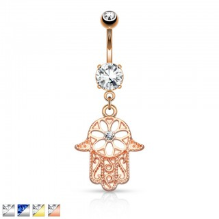Hamsa belly ring with centered crystal