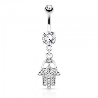 Hamsa belly bar with coloured jewels