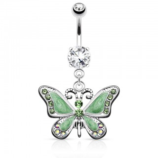 Expoxy butterfly decorated belly bar