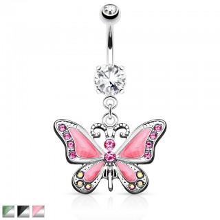 Belly button piercing with epoxy butterfly