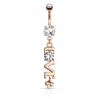 Dangling belly bar with crystal decorated word - LOVE