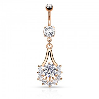 Coloured belly bar with classy dangling jewel