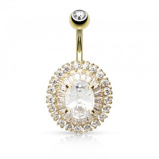 Belly bar with two rows surrounding a rounded gem
