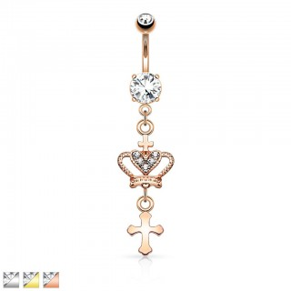 Coloured belly bar with dangling crown and cross