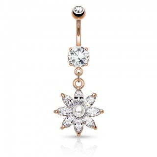 Fancy begemmed belly bar with pearl