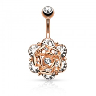 Decorative belly bar with fixed crystal rose