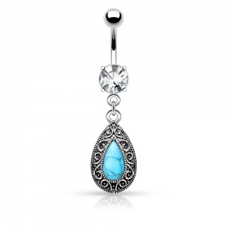 Classic style tear drop turquoise belly bar