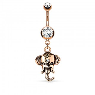 Drooping elephant shaped belly bar