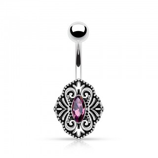 Belly bar with vintage brooch and pink diamond