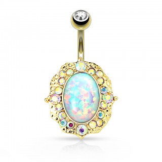 Extra large belly bar with opal shield and rainbow coloured crystals