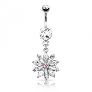 Belly button piercing with large crystal flower