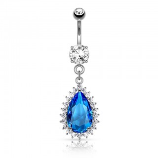 Belly button piercing with big blue droplet crystal