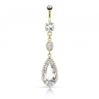 Belly bar with big crystal tear drop