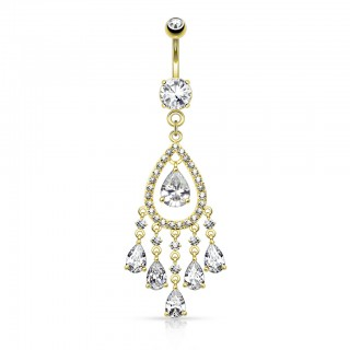 Belly bar with luxurious tear drop chandelier