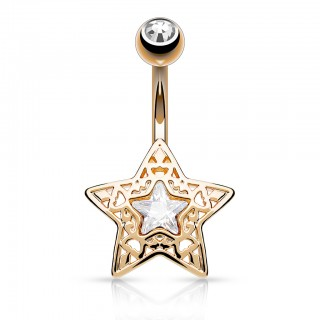 Belly piercing with filigrane star