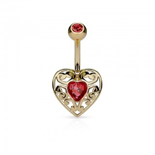 Belly bar with loveheart and shining jewel