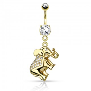 Luxurious belly bar with dangling crystal elephant