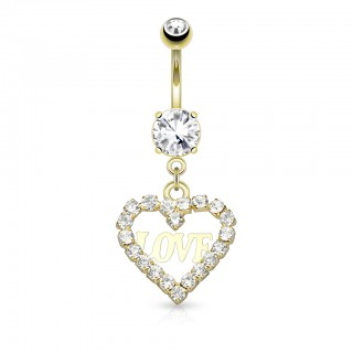 Dangling belly bar with hollowed heart