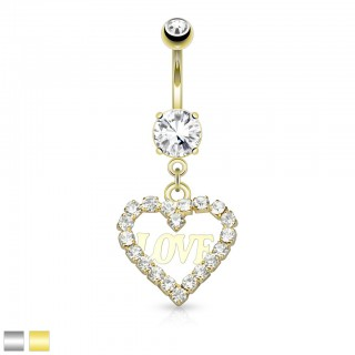 Belly button piercing with hollow heart shaped dangle