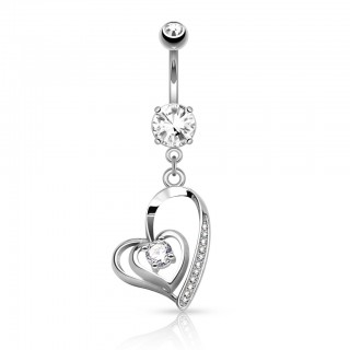 Dual hearted dangling belly bar