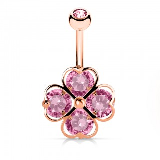Pink shamrock belly bar with 4 crystalised hearts