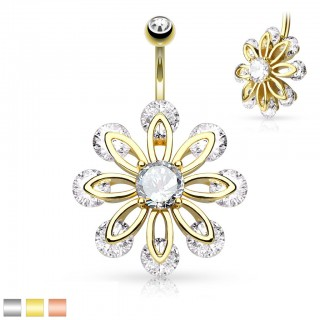 Coloured belly bar with flower of 9 clear diamonds