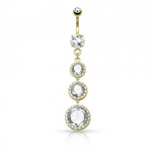 Belly bar with dangling crystal pendants