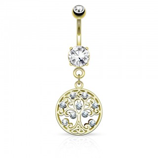 Belly bar with crystal Trea of Life hanger