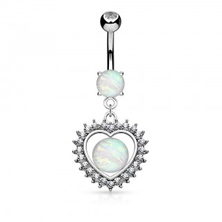 Belly piercing with opal in crystal hollow heart