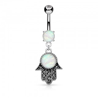 Belly button piercing with opal in Hamsa dangle