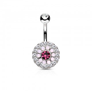 Belly bar with coloured crystalised disk