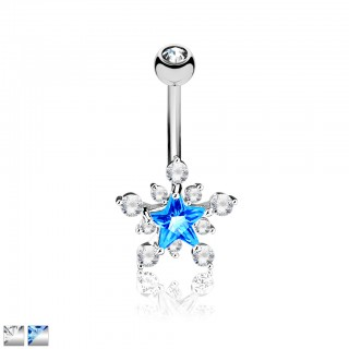 Belly bar with coloured crystals shaped as star