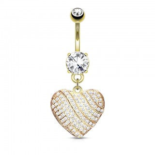 Gold belly bar with heart of micro crystals
