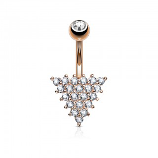 Belly ring with triangle of clear crystals