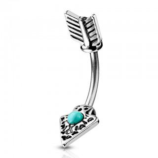 Belly bar with arrow and turquoise stone
