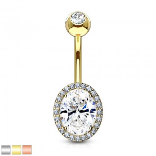 Belly bar with oval prong set clear crystal