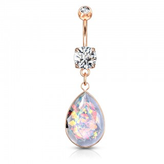 Rainbow glitter opal stone adorned dangling belly bar