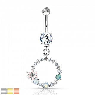 Double jeweled encased floral opal stone decorated belly bar
