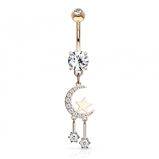 Crystal paved crescent moon and star dangling belly bar