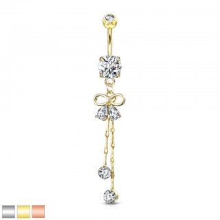 Two pear gemmed ribbon with round crystal chain dangle