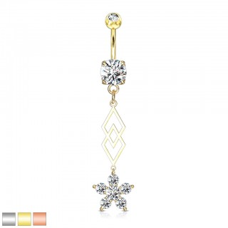 Dangling belly bar with crystalised flower and overlapping strand