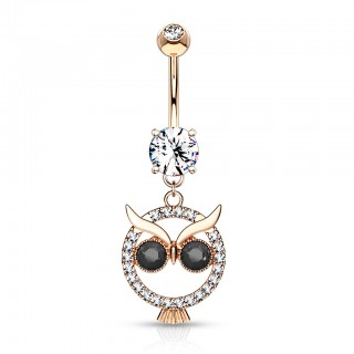 Crystal paved owl with black gem eyes on belly bar dangle